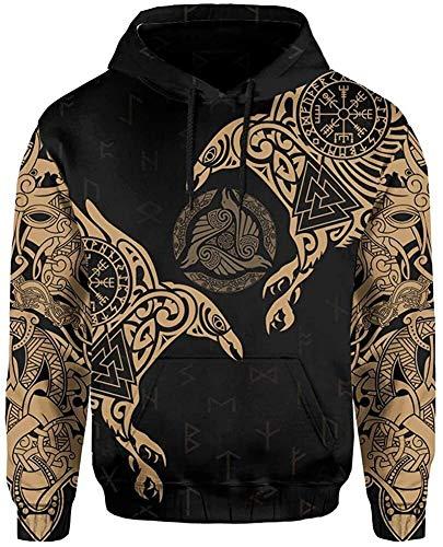 DFWY 3D Impreso nórdico Vikingo ygggrasil y Cuervos Tatuaje chándal Sudadera con Capucha, Unisex Manga Larga Streetwear Casual Sudadera con Capucha (Color : Brown Hoodie, Size : XXX-Large)