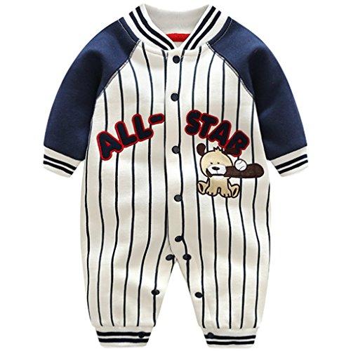 JiAmy Baby Overalls Baumwolle Strampler Spielanzug Jungen Mädchen Baseball Winterjacke Outfits 0-3 Monate