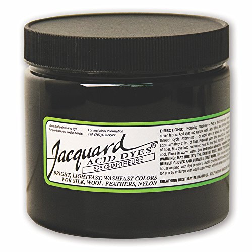 Jacquard Acid Dye for Wool, Silk and Other Protein Fibers, 8 Ounce Jar, Concentrated Powder, Chartreuse 628