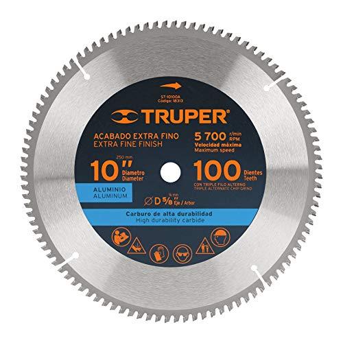 TRUPER ST-10100A Hoja de sierra de corte de aluminio, 10 pulgadas, 100 dientes, centro 5/8 pulgadas ✅
