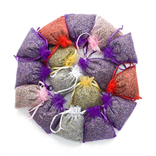 16 Mix Color Lavender Sachets Filled with French Lavender Flower Buds - Natural Deodorizer - Premium Ultra Blue Lavender Flower Buds - by Lavande Sur Terre