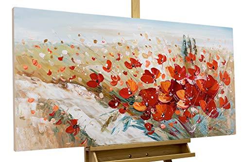 KunstLoft® Acryl Gemälde 'Flammende Blüten' 120x60cm   original handgemalte Leinwand Bilder XXL   Blumen flammend Deko rot   Wandbild Acrylbild Moderne Kunst einteilig mit Rahmen