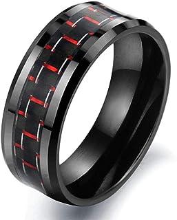 خاتم سيراميك اسود كلاسيكي انيق بعرض 8 ملم بتصميم هندسي من الياف الكربون، احمر، 11US