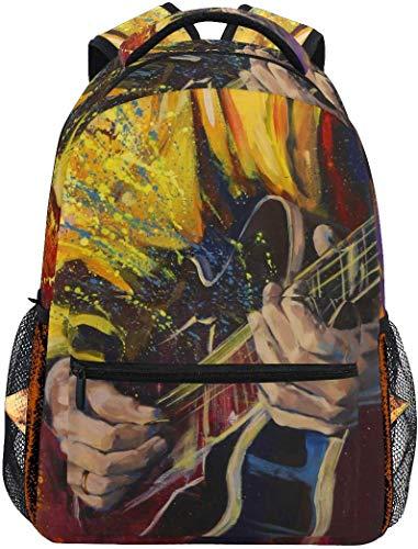 WKLNM Art Olie Schilderen Muzikaal Spelen De Gitaar Casual Rugzak Student School Tas Reizen Wandelen Camping Laptop Daypack