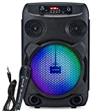 Modernista Sound Box 100 Wireless Bluetooth Speaker 20W with Wired Karaoke Mic/FM/Aux/LED Lights/Portable