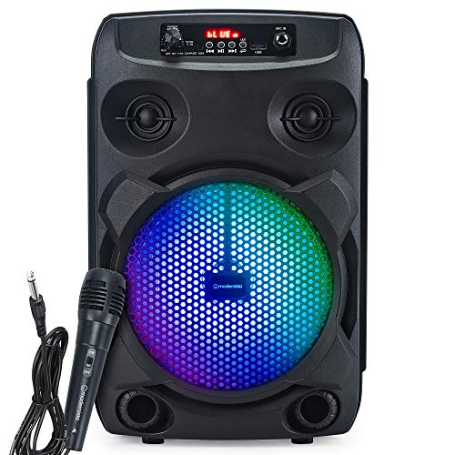 Modernista Sound Box 100 Wireless Bluetooth Speaker 20W with Wired Karaoke Mic/FM/Aux/LED Lights/Portable Outdoor Party Speaker