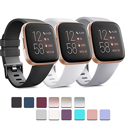 Pack 3 Soft Silicone Bands Compatible for Fitbit Versa 2 / Fitbit Versa/Fitbit Versa Lite Adjustable Sport Bands for Women Men Small Large(Without Tracker) (Large, Black+White+Grey)