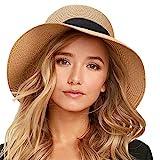 FURTALK Womens Beach Sun Straw Hat UPF50 Travel Foldable Summer HatFURTALK Womens Beach Sun Straw Hat UV UPF50 Travel Foldable Brim Summer UV Hat (Medium Size (21.8'-22.4'), Pure Khaki