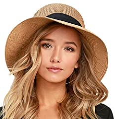 Womens Sun Hat Material is high quality paper straw, fashionable,functional and stylish brimmed beach sun hats for women; This Beach Straw Hat offer high UV UPF sun protection with full brim, sun blocker function make the hat perfect to use as a beac...