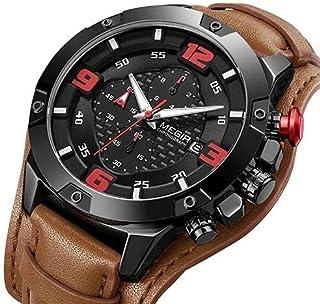 Megir ML2099-2 Leather Round Analog Watch for Men - BROWN