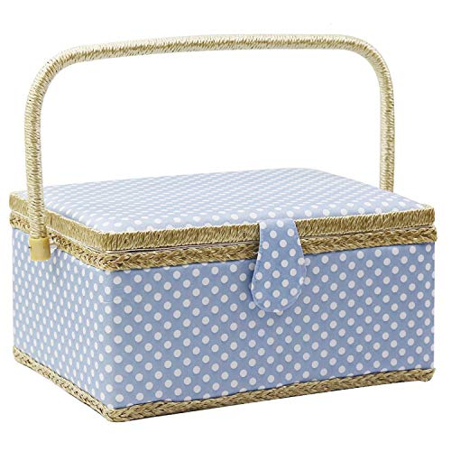 Multicolored Pattern Flrhsjx Large Sewing Basket with Accessories Sewing Organizer Box for Sewing Supplies and DIY Crafting Tools Storage,Sewing Kit Tools for Sewing Mending