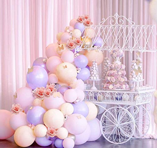 Pastel Balloons Arch Garland Kit 106pcs Pink and Purple Balloons Gold Confetti Balloons Curling Ribbon Glue Dots Party Balloons Decorating Strip Tape for Baby Shower Girls Birthday Party Decorations