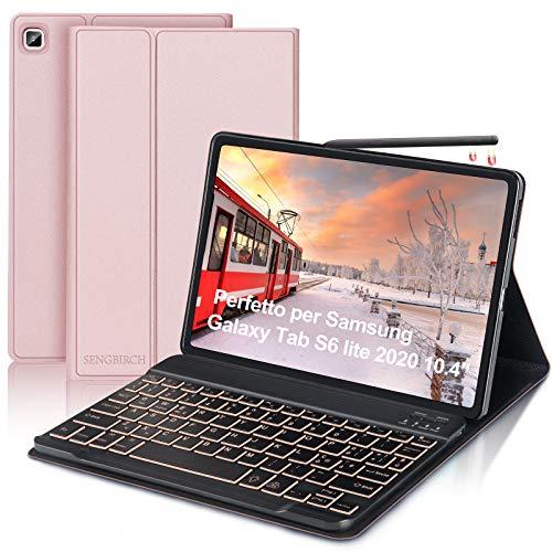 SENGBIRCH Tastiera con Custodia per Samsung Galaxy Tab S6 Lite 2020 10.4'(SM-P610/P615) con Italiano Retroilluminato Tastiera Bluetooth, Protettiva Sottile Custodia con Auto Svegliati/Sonno, Oro Rosa