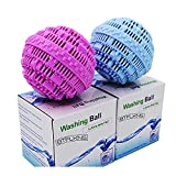 BTFLKNS Laundry Balls Set, Eco-Friendly Super Washing Machine Laundry Ball, All Natural Washer Ball Laundry Detergent Alternative, Household Can Be Reused 2000 Washings(2pcs Balls, Pink,Blue)