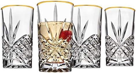 Godinger Highball Drinking Glasses Cups Gold Band Dublin Set of 4 product image