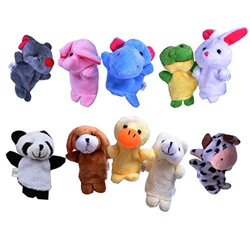 Beyond Dreams® 10 Fingerpuppen Set für Kinder | Velvet Tiere Handpuppen | Spielzeug Fingertiere | Spiele Mitbringsel Mitgebsel Geschenk Kindergeburtstag