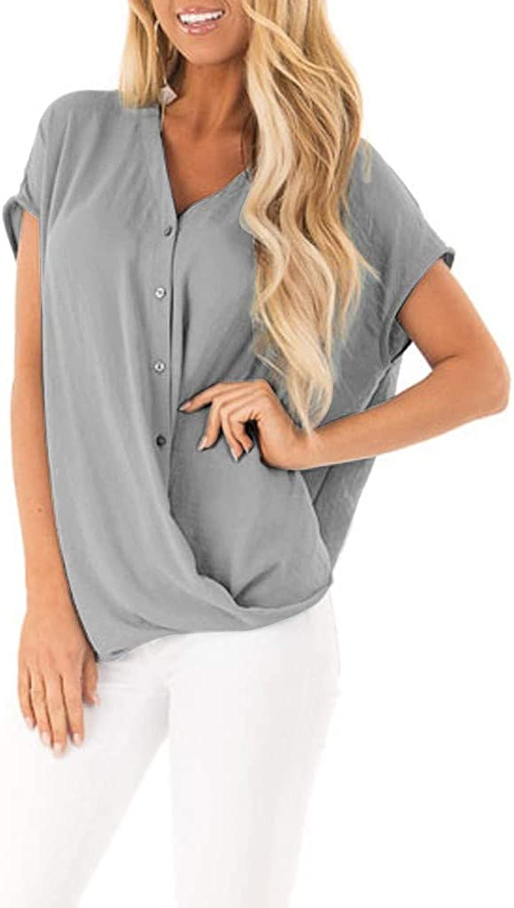Women Shirts for Work Short Chicago Mall Sleeve T-Shirt Max 77% OFF Office Chiffon Solid