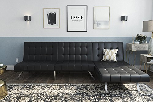 DHP-Emily-Sectional-Futon-Sofa-with-Convertible-Chaise-Lounger-Black-Faux-Leather