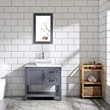 30' Gray Bathroom Vanity and Sink Combo Marble Pattern Top w/Mirror Faucet&Drain