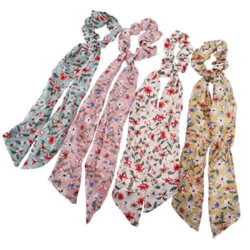 WELROG 4 Stücke Frauen Haar Haargummis Haar Krawatten Kopfverpackung Gummibänder Haar Zubehör (Blau/Pink/Beige/Gelb)