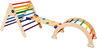 Set of 3 Triangle for Kids Toddlers Rock with ramp - Montessori Climber Ladder Slide - Learning Waldorf Climbing Arch Toy ...