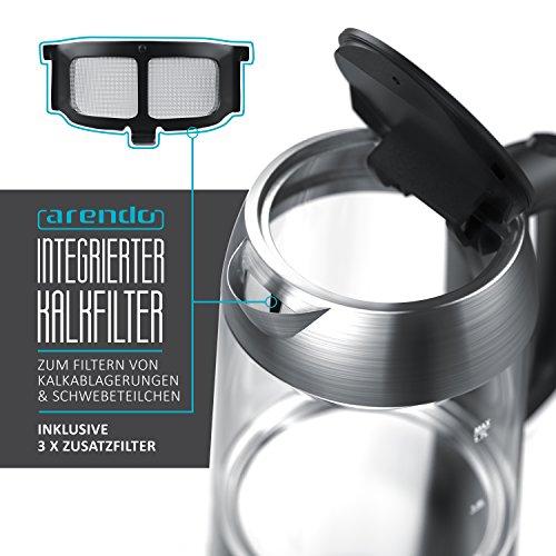 Arendo – Premium Edelstahl Glas Wasserkocher inkl. LED-Innenbeleuchtung | neues Modell (Edelstahl oben + unten) | STRIX-Controller | integrierter Kalkfilter | automatische Abschaltung | One-Touch-Verschluss by Arendo - 6