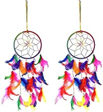 Sethi Traders Feather Wall Hanging Dream Catcher for Attracts Positive Dreams in Multi Color Set of 2 Limited Period Offer