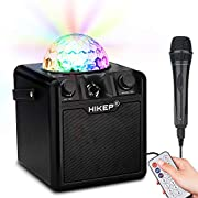 HIKEP Bluetooth Karaoke Machine with Disco Ball, Portable PA System Rechargeable Wireless Speaker for Kids Adults with Handle Microphone for Birthday Parties, Indoor Outdoor Karaoke Activities-Black