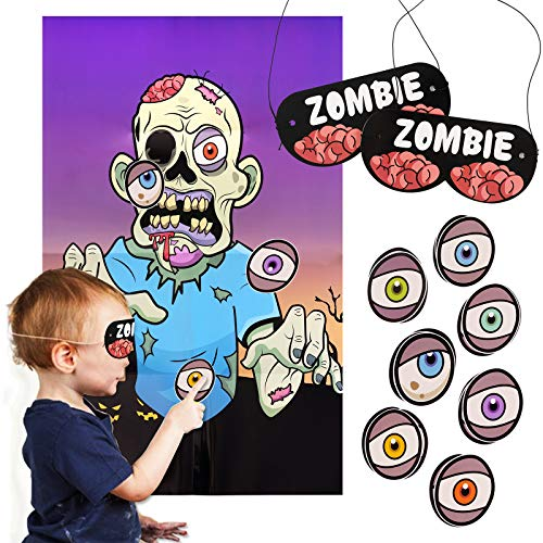 FINGOOO Halloween Pin Game, Pin the Eyeball on the Zombie Game Family Party Game for Kids and Adult
