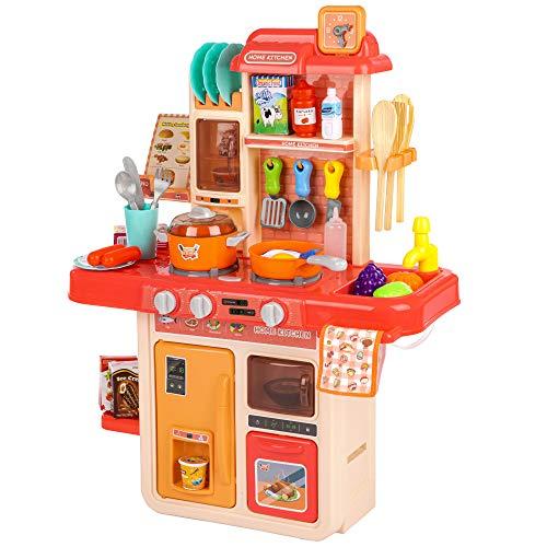 Kinderplay Cocina Juguete, Cocinitas de Juguetes, Cocina Infantil para Niños - Luces, Sonidos y Agua, Simulación de Vapor, 42 Accesorios Incluidos, KP5447