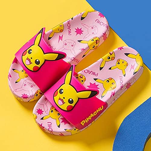 zapatillas de casa para mujer baratas,PIKACHU Zapatillas para niños, Niños de verano y niñas Casa para bebé Casa interior Baño Suave Inferior Non-Slip Playa Sandalias deportivas-33 (20cm / 7.87)_C
