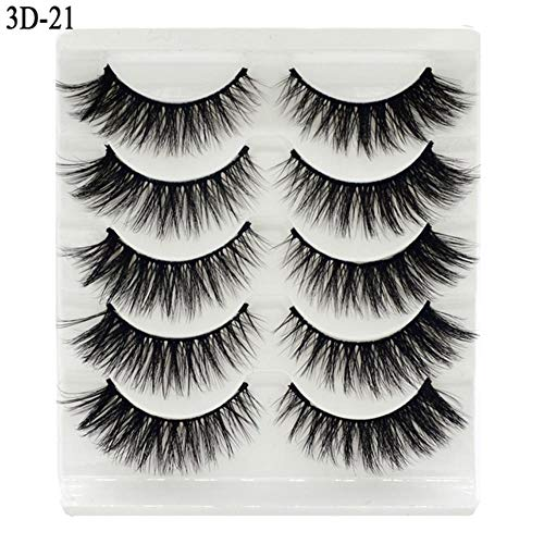 KADIS 5Pairs 3D Eyelashes False Lashes Natural Handmade Volume Soft Eye Lashes Fake Eyelash Extension Makeup,3D21