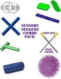 Sensory Seekers Combo Pack Includes CHEWYTUBES Ultimate Fidget Rings Puffer Ball Desk Buddy Tactile ROLL Pencil Toppers CHEW STIXX Tactile Tiger Brush