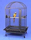 """Elegant Wrought Iron construction; Huge, dometop-style large bird cage provides the space your larger bird deserves Outside Dimensions: 40"""" x 30"""" x 66"""" Inside Dimensions: 40' x 30"""" x 52"""" Bar Spacing 1 1/4""""; 6mm Strong Wire Huge access door. 17"""" front..."""