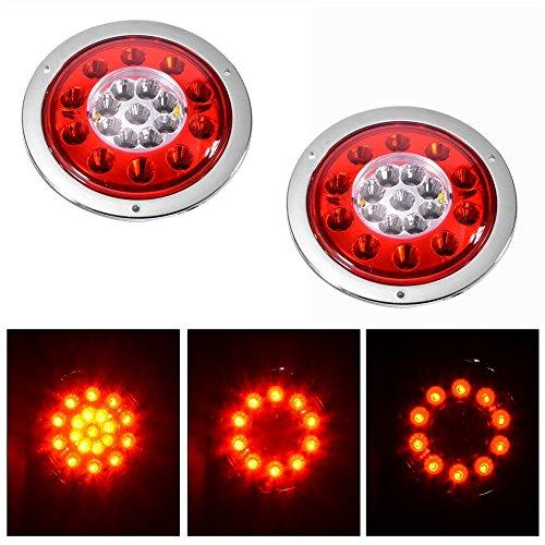 Rot/Gelb 10,9cm rund 19-led Truck Trailer Bremse Stop Turn Signal Marker Schwanz LED-Licht wasserdicht Tight versiegelten chrom Ring DC12V/24V (Pack von 2)