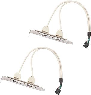 Almencla USB 2.0 拡張ブラケット 2ポートリアパネル to マザーボード 9ピンヘッダ PC用 2点セット