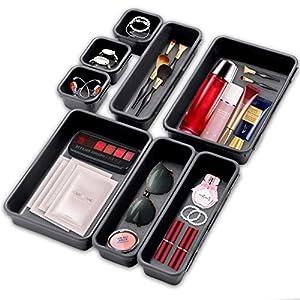 Getrennte Schublade Organizer,8 Stücke Aufbewahrungsbox für Zuhause,Waschbare Aufbewahrungsbox,Bade Make-up Organizer, Büro & HomeAufbewahrungsbox,Schubladen Organizer Ordnungssystem (Hellgrau)