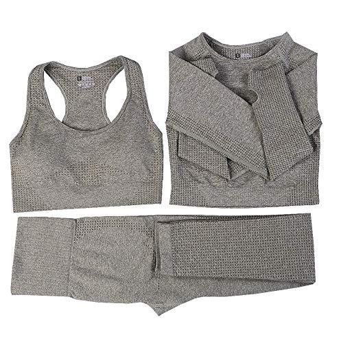 Nahtloses Yoga-Set für Damen, 3-teilig, Fitness-Sportanzüge, Fitnesskleidung, lange Ärmel, Crop Shirts, hohe Taille, Lauf-Leggings, Workout-Hose Gr. 36, armee-grün