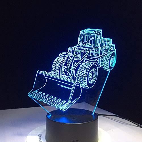 tzxdbh Neue 3D Nachtlicht Illusion Lampe 7 Farbwechsel Ledexcavator Bulldozer Maschine Ändern Atmosphäre Touctouch USB Tisch Geschenk Kinder Spielzeug Dekor Dekorationen Weihnachten