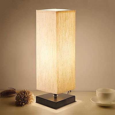 Bedside Table Lamp, Aooshine Minimalist Solid Wood Table Lamp Bedside Desk Lamp with Square Flaxen Fabric Shade for Bedroom, Dresser, Living Room, Kids Room, College Dorm, Coffee Table, Bookcase