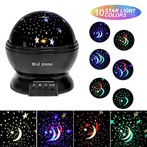 Muljexno Baby Night Light Projector, 360 ° Romantic Rotation and 10 Modes of 2 in 1 Color LED Gift Night Light, Freely Switch Between Different Colors of Scene Lights: Starry Sky, Happy Birthday