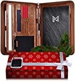 NERO MANETTI- Zippered Vegan Leather Padfolio/Portfolio Pad Holder-Business PU Leather Notepad Folder for Resumes, Interviews, iPad/Tablet, Phone, Legal Pad Notebook Executive Binder for Women, Men