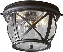 Allen Roth Castine 10.9-in W Rubbed Bronze Outdoor Flush-Mount Light