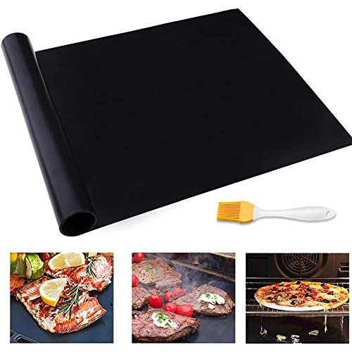 CHERAINTI Grill Mat Oven Liner 70″x16″ Non-Stick Reusable Barbecue BBQ Mat, Cut to Any Size, for Gas Grill, Charcoal, Electric Grill, Electric Oven, Heat Resistant