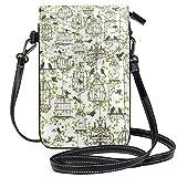 Téléphone Portable Sac à Main bandoulière Oiseaux avec Cages à Oiseaux Petit Sac à bandoulière Portefeuille de téléphone Portable pour Femmes Filles