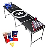 Beer Pong Tisch Set - Audio Table - inkl. 100 Becher (50 Rot & 50 Blau), 6 Bälle, Regelwerk & 2...