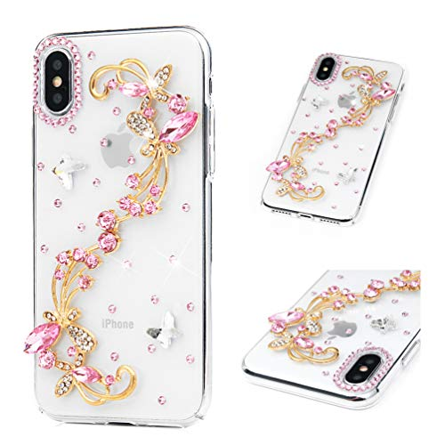 Schutzhülle für iPhone XS, iPhone X, 3D, glitzernd, kristallklar, mit glitzernden Strasssteinen, rutschfest, harter Polycarbonat, Rosa Schmetterling