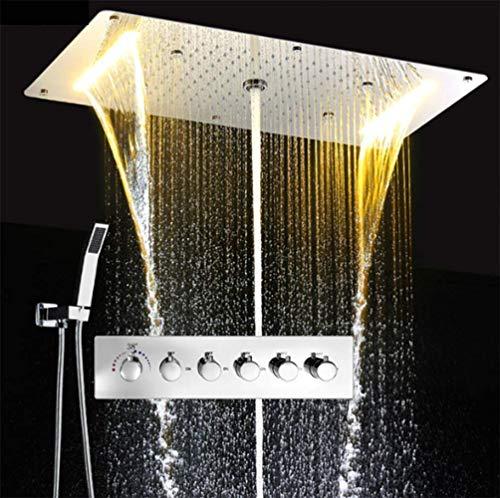 WANNA.ME Multifunction Bathroom Shower Sets Luxury Thermostatic Mixer Waterfall Rainfall Spa Ceiling Big Rain LED Shower Set