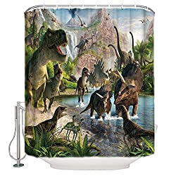 2. Dinosaurs Waterproof Polyester Shower Curtain