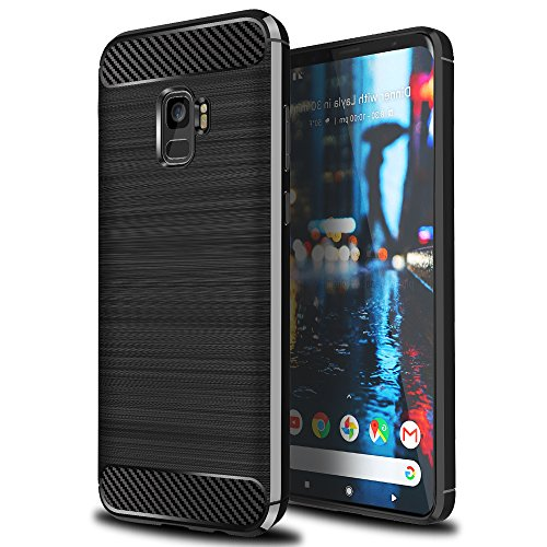 Ferlinso Funda para Samsung Galaxy J6 2018, Silicona Flexible Rugged Armor Híbrido Defensor Shockproof Funda Protectora diseño de Fibra de Carbono (Negro)